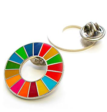 「SDGsカラーホイール」のピンバッジ製作例の画像