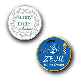 ピンバッジ製作実例 ZEJIL Hair Design(sunnybride with ZEJIL)の画像