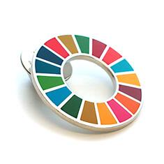 SDGsバッジ(ピンズ、ピンバッジ)の着色方法「合成七宝」の画像
